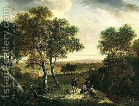 An extensive wooded landscape with peasants by a path, a town beyond by Dionys Verburgh - Reproduction Oil Painting