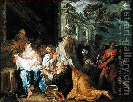 Adoration of the Magi, 1708 by Claude Verdot - Reproduction Oil Painting