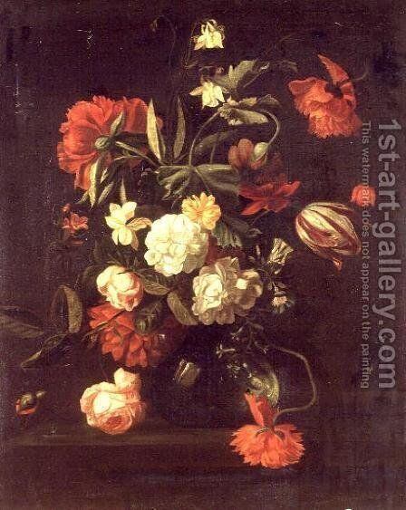 Roses, tulips, peonies and other flowers in a vase by Simon Pietersz. Verelst - Reproduction Oil Painting
