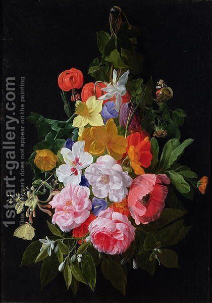 A Swag of Roses and other Flowers Hanging from a Nail by Nicholaes van Verendael - Reproduction Oil Painting