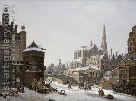A Capriccio View of a Town with Figures on a Frozen Canal by Jan Hendrik Verheyen - Reproduction Oil Painting