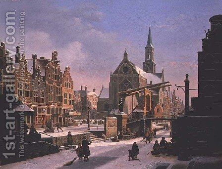 Town Scene in Winter by Jan Hendrik Verheyen - Reproduction Oil Painting