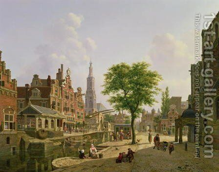 Dutch town scene with canal by Jan Hendrik Verheyen - Reproduction Oil Painting