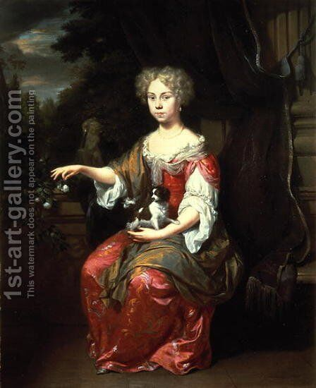 Portrait of a Lady holding her pet King Charles Spaniel by Jan Verkolje - Reproduction Oil Painting