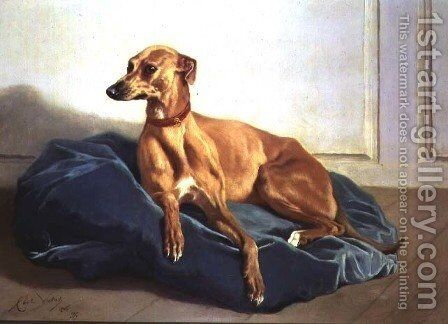 Study of a Hound, 1860 by Charles Verlat - Reproduction Oil Painting