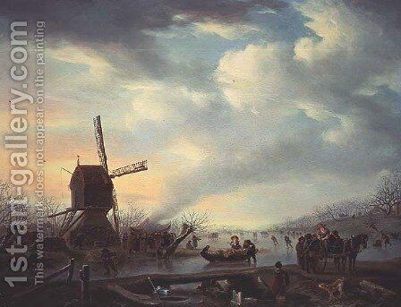 An Extensive Winter Landscape with Figures Skating by Andries Vermeulen - Reproduction Oil Painting