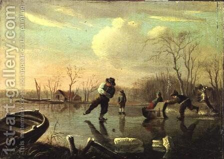A Frozen Winter by Andries Vermeulen - Reproduction Oil Painting