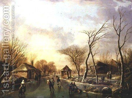 Skating on a frozen canal by Andries Vermeulen - Reproduction Oil Painting
