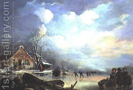 Winter landscape with cottage and figures by Andries Vermeulen - Reproduction Oil Painting