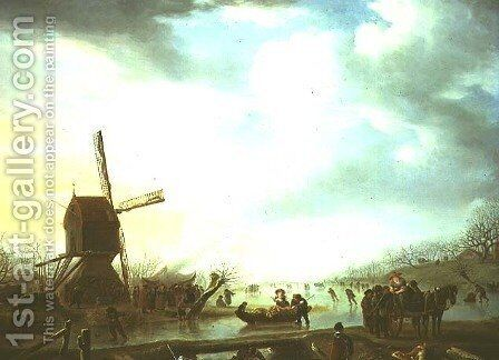 Winter scene with a windmill by Andries Vermeulen - Reproduction Oil Painting