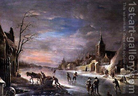 Figures Gathered Around a Bonfire at the Edge of a Frozen River by Andries Vermeulen - Reproduction Oil Painting