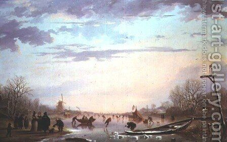 Skating scene on a frozen river by Andries Vermeulen - Reproduction Oil Painting