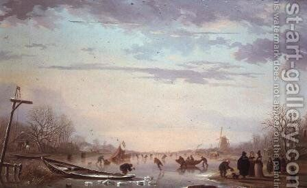 Winter Skating Scene, 1799 by Andries Vermeulen - Reproduction Oil Painting