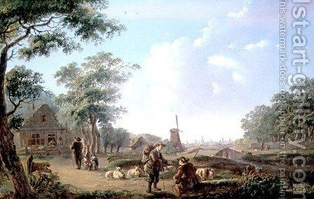 Rustic figures on the outskirts of a Dutch Town by Andries Vermeulen - Reproduction Oil Painting