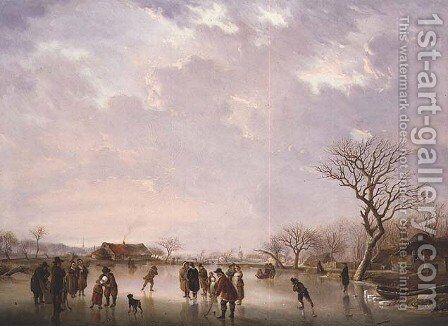 Winter Scene with Hockey Players and Other Figures by Andries Vermeulen - Reproduction Oil Painting
