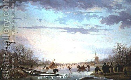 Dutch Canal Scene by Andries Vermeulen - Reproduction Oil Painting