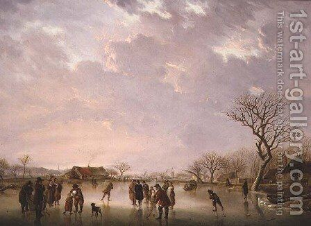 Winter scene with skaters by Andries Vermeulen - Reproduction Oil Painting