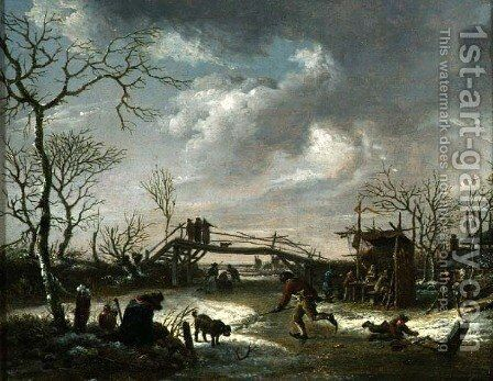 Peasants on a Frozen River by Andries Vermeulen - Reproduction Oil Painting