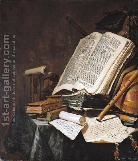 Books and Musical Instruments by Jan Vermeulen - Reproduction Oil Painting
