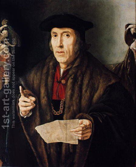 Portrait of a Man, possibly Judge John More, father of Sir Thomas More 1478-1535 by Jan Cornelisz Vermeyen - Reproduction Oil Painting
