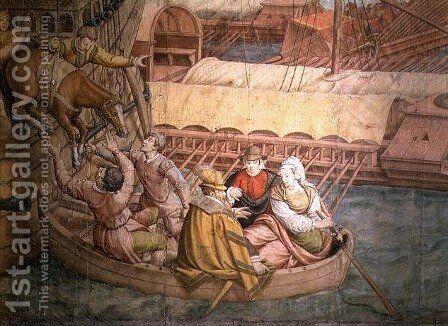 Campaign of Emperor Charles V against the Turks at Tunis in 1535: the Battle of Goletta, detail of a horse being lowered into a boat, cartoon for a tapestry by Jan Cornelisz Vermeyen - Reproduction Oil Painting