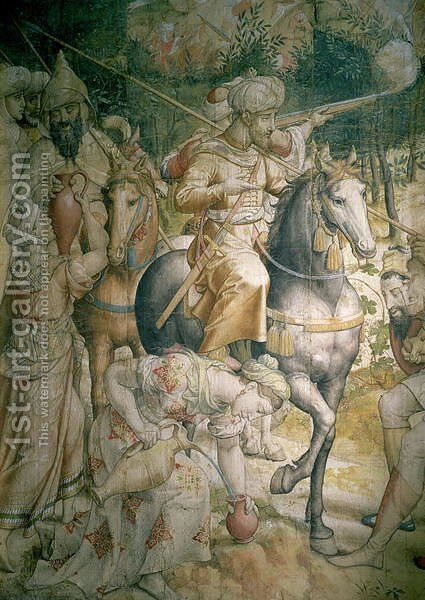 Campaign of Emperor Charles V against the Turks at Tunis in 1535 the defeat of the Turks at the battle of Goletta, detail of cavalrymen quenching their thirst, cartoon for a tapestry by Jan Cornelisz Vermeyen - Reproduction Oil Painting