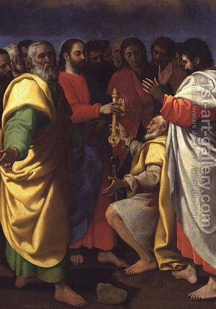 Christs Charge to St.Peter by Giuseppe Vermiglio - Reproduction Oil Painting