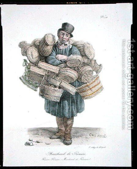 The Basket Seller, number 21 from The Cries of Paris series, published c.1820 by Carle Vernet - Reproduction Oil Painting