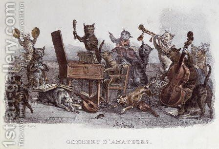 An Amateur Concert, engraved by Francois Seraphin Delpech 1778-1825 c.1820 by Carle Vernet - Reproduction Oil Painting