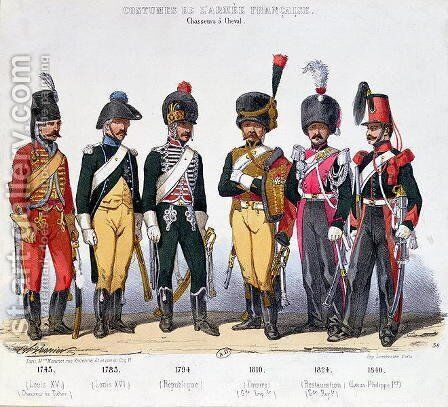 Costumes of French Cavalrymen from 1743 to 1840 by Charles Vernier - Reproduction Oil Painting