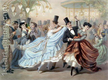 Waltz at the Bal Mabille, Avenue Montaigne, Paris by Charles Vernier - Reproduction Oil Painting