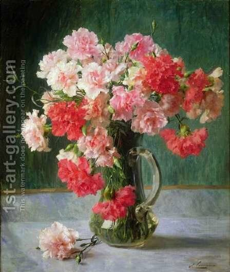 Still life of Carnations by Emile Vernon - Reproduction Oil Painting