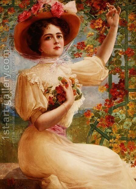 A Summer Beauty, 1909 by Emile Vernon - Reproduction Oil Painting