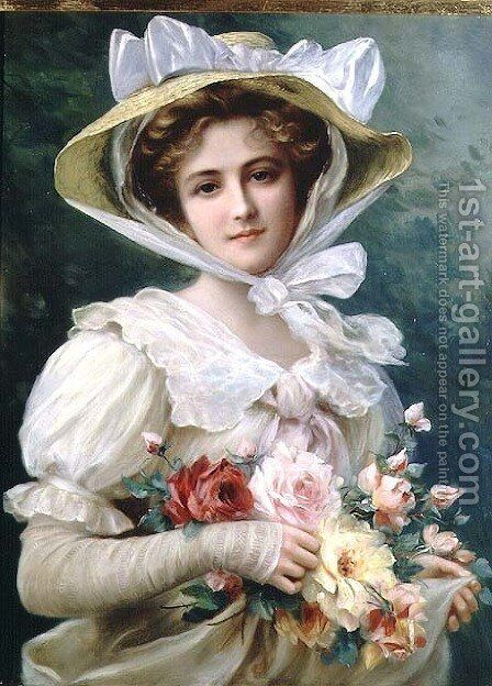 Elegant lady with a bouquet of roses by Emile Vernon - Reproduction Oil Painting