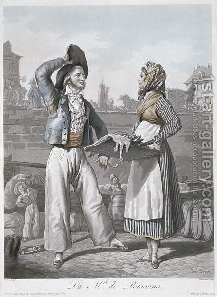 The Fish Seller by Carle Vernet - Reproduction Oil Painting