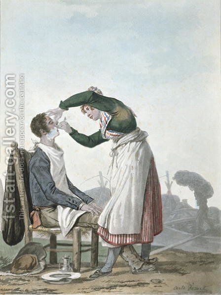 A collier having a shave by Carle Vernet - Reproduction Oil Painting