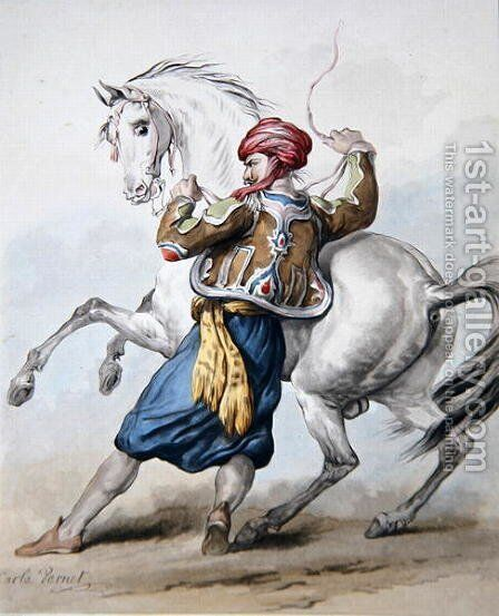 A Persian tries to overcome a French Horse by Carle Vernet - Reproduction Oil Painting