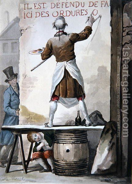 A signwriter and his assistant by Carle Vernet - Reproduction Oil Painting