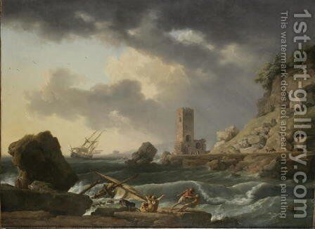 Rocky Coastal Landscape with Shipwreck, 1746 by Carle Vernet - Reproduction Oil Painting