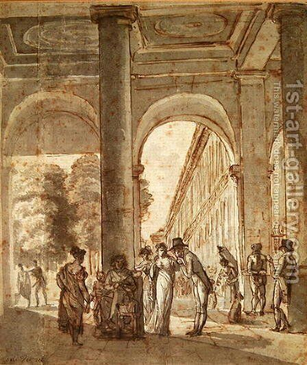 The Palais Royal in 1810 by Carle Vernet - Reproduction Oil Painting
