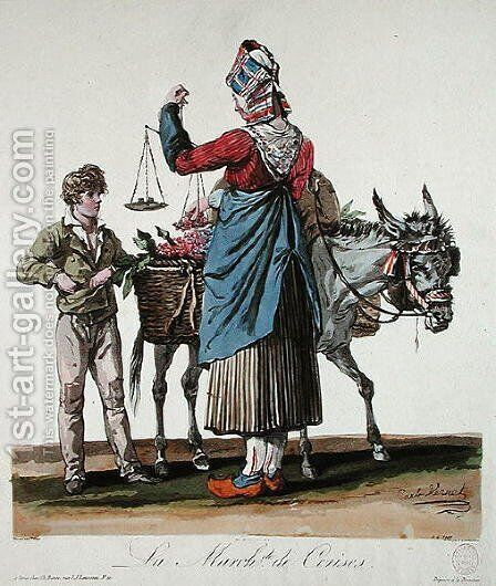 The Cherry Seller, engraved by Philibert Louis Debucourt 1755-1832 by Carle Vernet - Reproduction Oil Painting