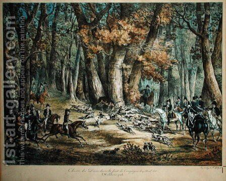 Hunting Deer in the Forest at Compiegne, 27th April 1818 by Carle Vernet - Reproduction Oil Painting