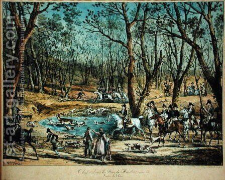 Hunting in the Woods at Meudon, 29th March 1819 by Carle Vernet - Reproduction Oil Painting