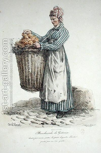 The Cake Seller, number 34 from The Cries of Paris series, engraved by Francois Seraphin Delpech 1778-1825 by Carle Vernet - Reproduction Oil Painting