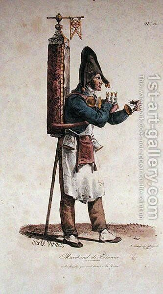 The Tisane Seller, number 13 from The Cries of Paris series, engraved by Francois Seraphin Delpech 1778-1825 by Carle Vernet - Reproduction Oil Painting