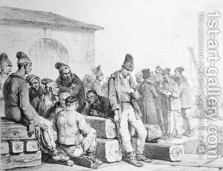 The Convicts, engraved by Francois Seraphin Delpech 1778-1825, first half 19th century by Carle Vernet - Reproduction Oil Painting