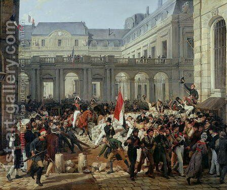 The Duke of Orleans Leaves the Palais-Royal and Goes to the Hotel de Ville on 31st July 1830, 1832 by Carle Vernet - Reproduction Oil Painting