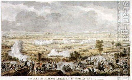 The Battle of Marengo, 23 Prairial, Year 8 12 June 1800 engraved by Jean Duplessi-Bertaux 1747-1819 by Carle Vernet - Reproduction Oil Painting
