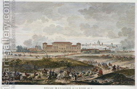 The Battle of La Favorite, 25 Nivose, Year 5 January 1797 engraved by Jean Duplessi-Bertaux 1747-1819 by Carle Vernet - Reproduction Oil Painting