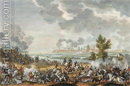 The Battle of S. Giorgio di Mantova, 29 Fructidor, Year 4 September 1796 engraved by Jean Duplessi-Bertaux 1747-1819 by Carle Vernet - Reproduction Oil Painting